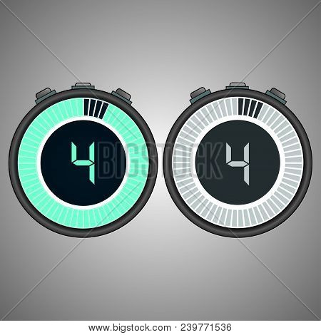 Electronic Digital Stopwatch. Timer  4 Seconds Isolated On Gray Background.stopwatch Icon Set. Timer