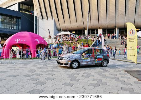 Cluj-napoca, Romania - May 5, 2018: Race Car Stands In Front Of Cluj Arena Stadium After Finishing T