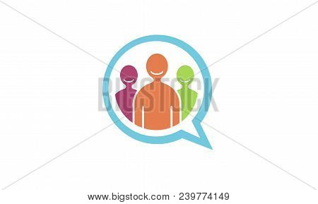 Team Talk People Chat Bubble Logo Design Illustration