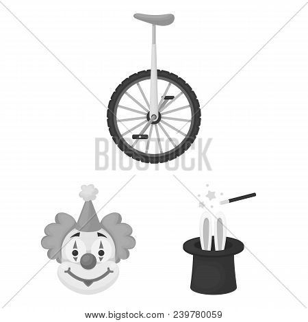 Circus And Attributes Monochrome Icons In Set Collection For Design. Circus Art Vector Symbol Stock