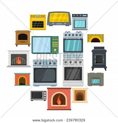Oven Stove Furnace Fireplace Icons Set. Flat Illustration Of 16 Oven Stove Furnace Fireplace Vector