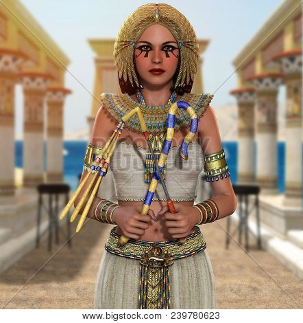 3d Render Of A Beautiful Egyptian Princess, Queen, Pharaoh, Cleopatra, In A Richly Decorated Temple,