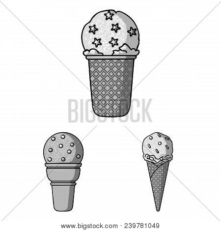 Different Ice Cream Monochrome Icons In Set Collection For Design. Dessert And Sweetness Vector Symb