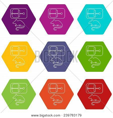 Mousetrap Icons 9 Set Coloful Isolated On White For Web