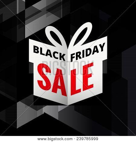 Origami Giftbox Of Black Friday Sale Vector