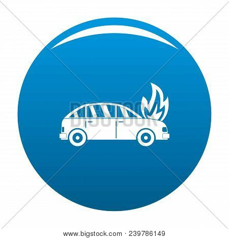 Burning Car Icon. Simple Illustration Of Burning Car Vector Icon For Any Design Blue