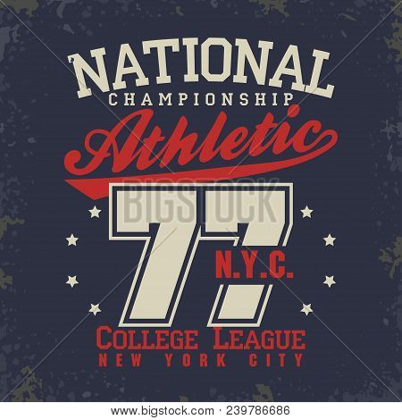 T-shirt Stamp Graphics, New York College Sport Wear Typography Emblem, Tee Print, Athletic Apparel D