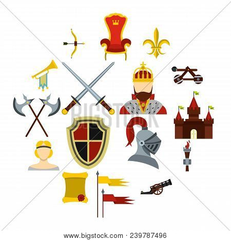 Knight Icons Set. Flat Illustration Of 16 Knight Vector Icons For Web