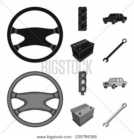 Traffic Light, Old Car, Battery, Wrench, Car Set Collection Icons In Black, Monochrom Style Vector S