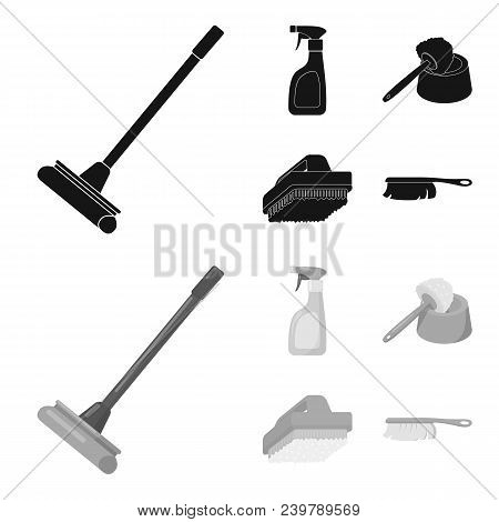 Cleaning And Maid Black, Monochrom Icons In Set Collection For Design. Equipment For Cleaning Vector