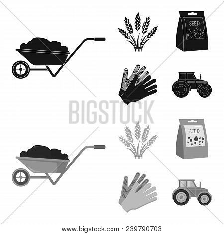 Spikelets Of Wheat, A Packet Of Seeds, A Tractor, Gloves.farm Set Collection Icons In Black, Monochr