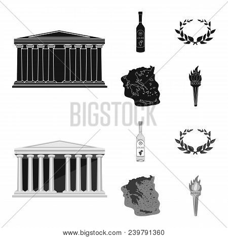 Greece, Country, Tradition, Landmark .greece Set Collection Icons In Black, Monochrom Style Vector S