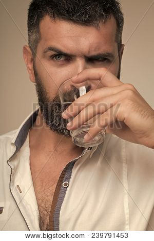 Bearded hipster drink water. Water consumption concept. Thirst, dryness, drought. Health diet healthy dieting poster