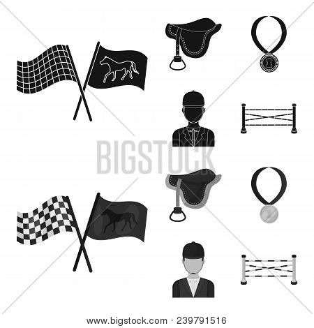Saddle, Medal, Champion, Winner .hippodrome And Horse Set Collection Icons In Black, Monochrom Style