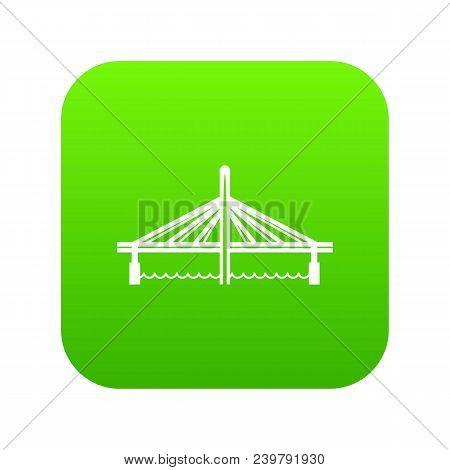 Millau Viaduct Bridge Icon Green Vector Isolated On White Background