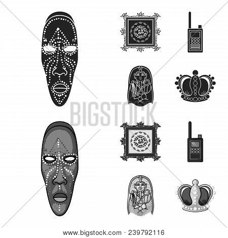 Picture, Sarcophagus Of The Pharaoh, Walkie-talkie, Crown. Museum Set Collection Icons In Black, Mon