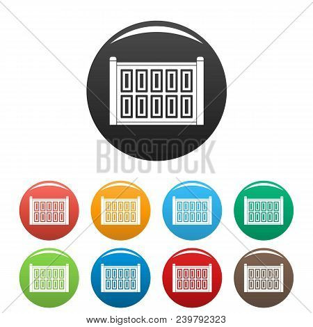 Concrete Fence Icon. Simple Illustration Of Concrete Fence Vector Icons Set Color Isolated On White