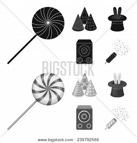 Tricks, Music And Other Accessories At The Party.party And Partits Set Collection Icons In Black, Mo