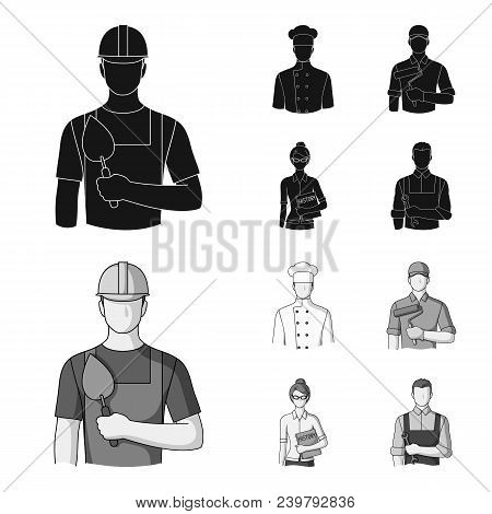 Cook, Painter, Teacher, Locksmith Mechanic.profession Set Collection Icons In Black, Monochrom Style