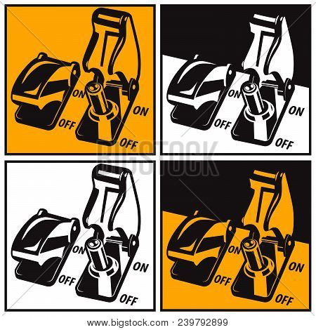 Stylized Vector Illustration Of Toggle Switches In Color And Black And White Interpretation