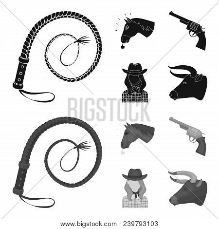 Head Of A Horse, A Bull Head, A Revolver, A Cowboy Girl.rodeo Set Collection Icons In Black, Monochr