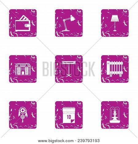 Place Of Work Icons Set. Grunge Set Of 9 Place Of Work Vector Icons For Web Isolated On White Backgr
