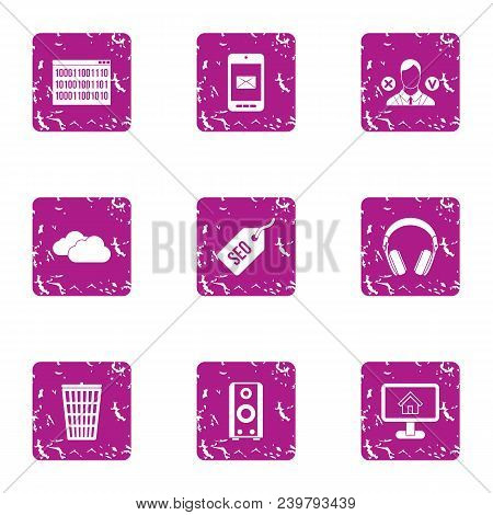 Trading Day Icons Set. Grunge Set Of 9 Trading Day Vector Icons For Web Isolated On White Background