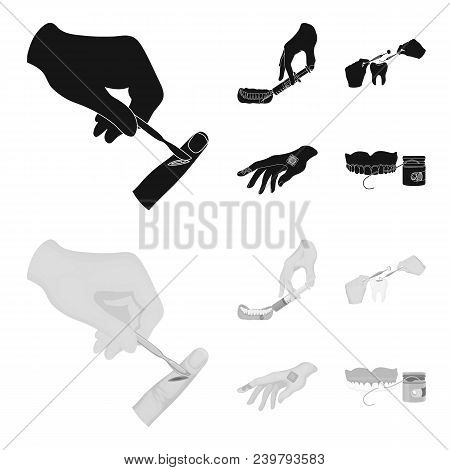 Anesthetic Injection, Dental Instrument, Hand Manipulation, Tooth Cleaning And Other  Icon In Black,