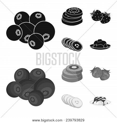 Fruits And Other Food. Food Set Collection Icons In Black, Monochrom Style Vector Symbol Stock Illus