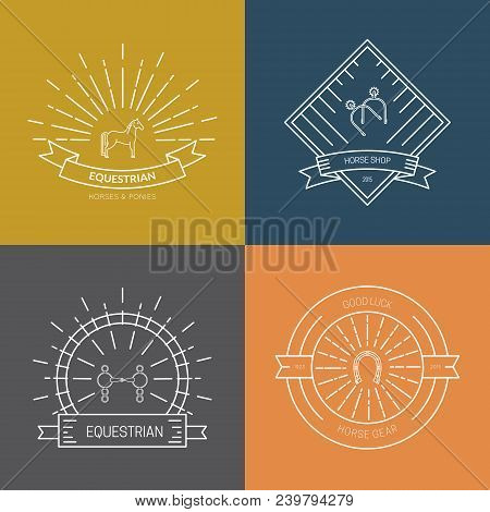 Hipster collection of logotypes with different horse and equine industry symbols. Labels for horseriding school or equestrian supplies shop. Vector line art. poster