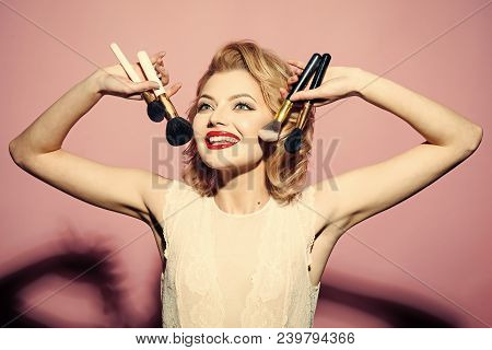 Vintage, Skincare, Look. Retro Woman With Makeup Brush, Vintage, Look. Makeup And Cosmetics, Skincar
