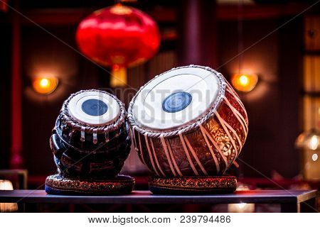Ethnic Musical Instrument Tabla In The Interior Of The Chill-out