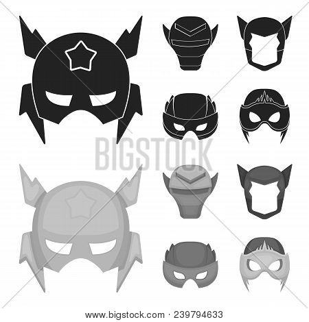 Helmet, Mask On The Head.mask Super Hero Set Collection Icons In Black, Monochrom Style Vector Symbo