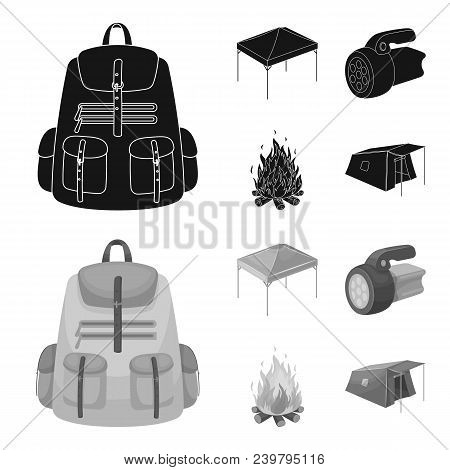 Awning, Fire And Other Tourist Equipment.tent Set Collection Icons In Black, Monochrom Style Vector