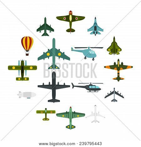 Aviation Icons Set. Flat Illustration Of 16 Aviation Vector Icons For Web