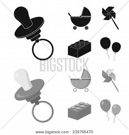 Stroller, Windmill, Lego, Balloons.toys Set Collection Icons In Black, Monochrom Style Vector Symbol