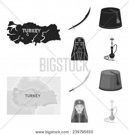 Turkish fez, yatogan, turkish, hookah.Turkey set collection icons in black, monochrom style vector symbol stock illustration . poster