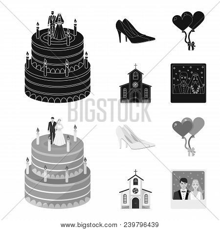 Wedding And Attributes Cartoon , Flat, Outline, Black Icons In Set Collection For Design.newlyweds A