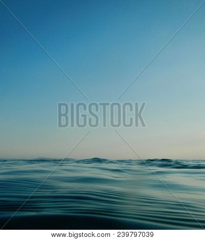 Horizon Meets Water, Ocean Rippled Water Meets Sky, Seascape Of Calm Water Clear Sky, Cloudless Blue