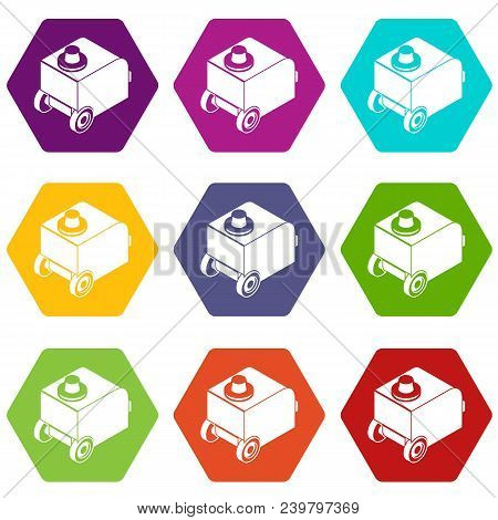 Welding Machine Icons 9 Set Coloful Isolated On White For Web