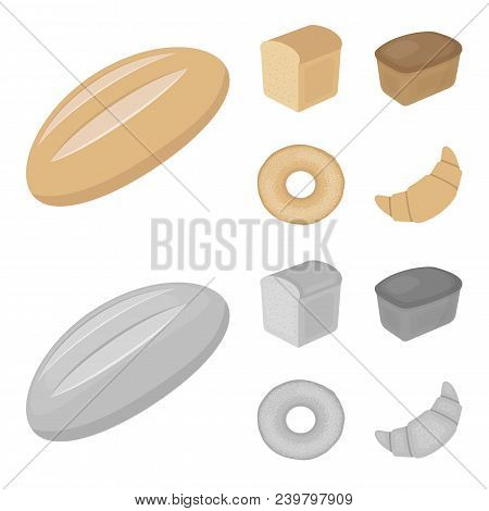 Loaf Cut, Bagel, Rectangular Dark, Half A Loaf.bread Set Collection Icons In Cartoon, Monochrome Sty