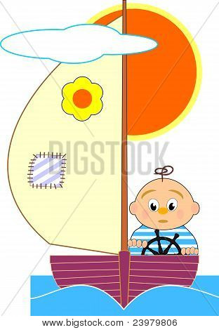Sailboat and sailor boy - vector cartoon illustration on white background