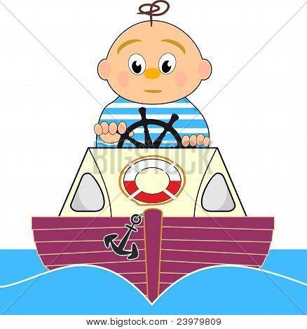Lifeguard. Motor boat and sailor boy