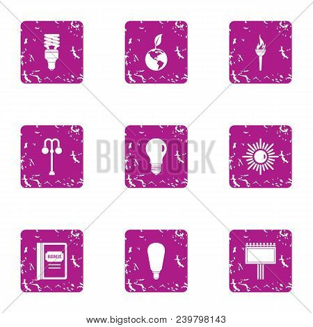 Pure Light Energy Icons Set. Grunge Set Of 9 Pure Light Energy Vector Icons For Web Isolated On Whit