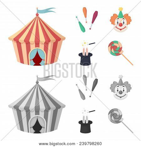 Circus Tent, Juggler Maces, Clown, Magician Hat.circus Set Collection Icons In Cartoon, Monochrome S