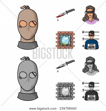 A Thief In A Mask, A Bloody Knife, A Hostage, An Escape From Prison.crime Set Collection Icons In Ca