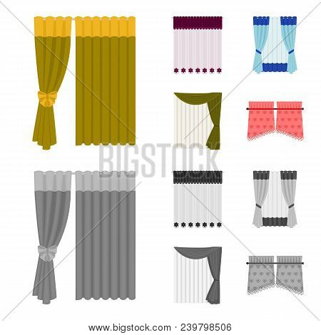 Curtains, Drapes, Garters, And Other  Icon In Cartoon, Monochrome Style. Textiles, Furniture, Bow Ic