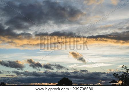 Sunset Sky With The Color Dramatic Clouds, Stock Photo