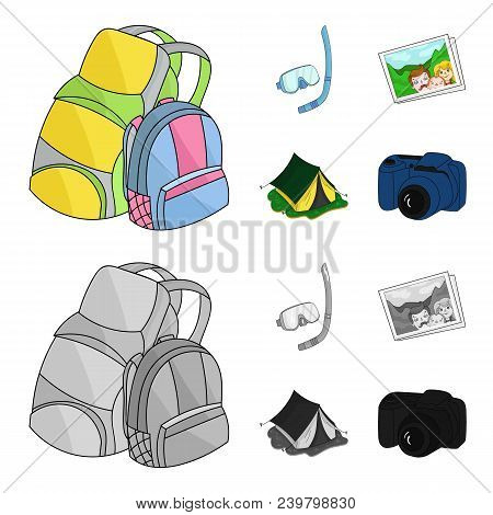Travel, Vacation, Backpack, Luggage .family Holiday Set Collection Icons In Cartoon, Monochrome Styl