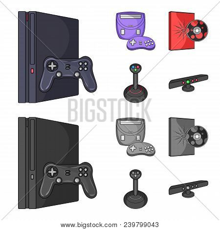 Game Console, Joystick And Disc Cartoon, Monochrome Icons In Set Collection For Design.game Gadgets